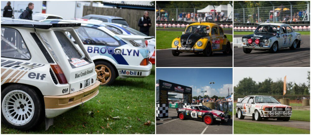 selection of rally cars at Castle combe race circuit
