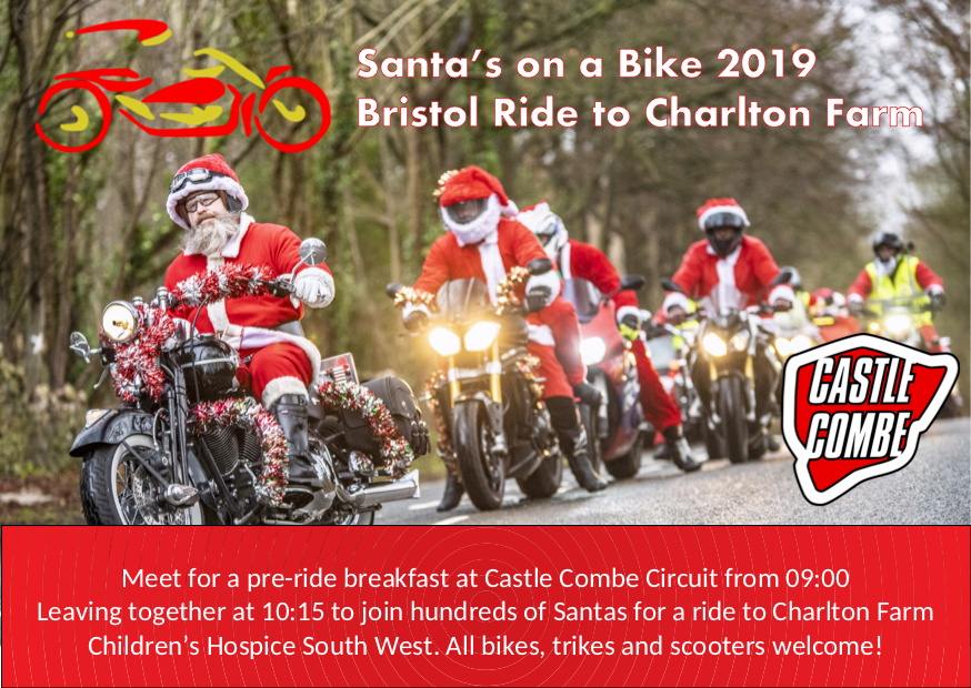 BRISTOL'S 'SANTAS ON A BIKE' 2019 HEADS TO CASTLE COMBE CIRCUIT